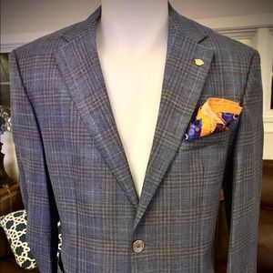 HUGO BOSS Blue Plaid JANSON6 Sport Coat / Blazer